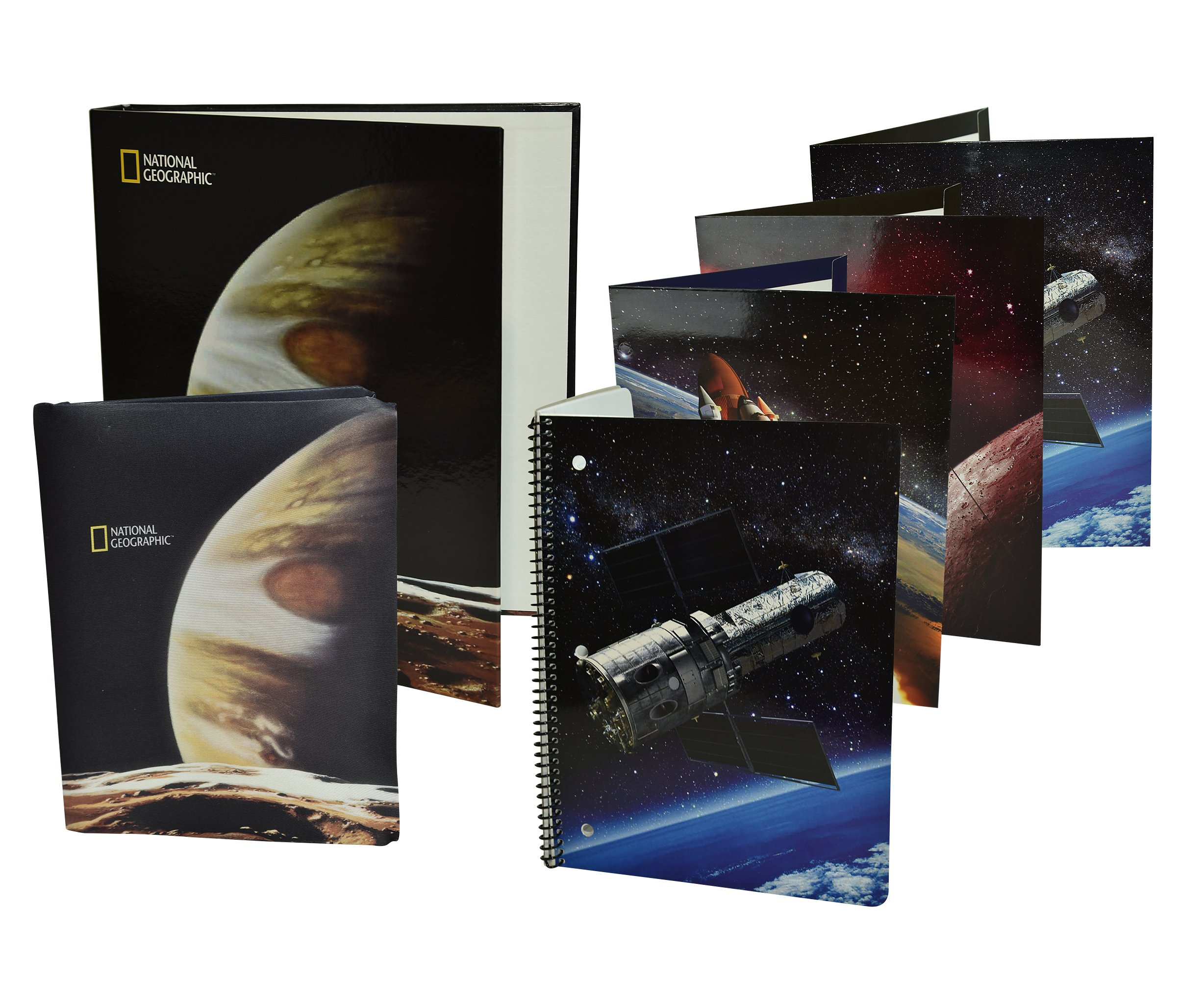 National Geographic Outer Space Back to School Supplies for Kids Binder Wide Ruled Notebook Folders Stretchy Book Cover