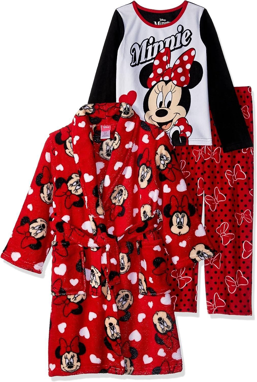 New Toddler Girls/' Disney Minnie Mouse 3pc Robe /& Pajama Set Sleepwear SZ 4 T