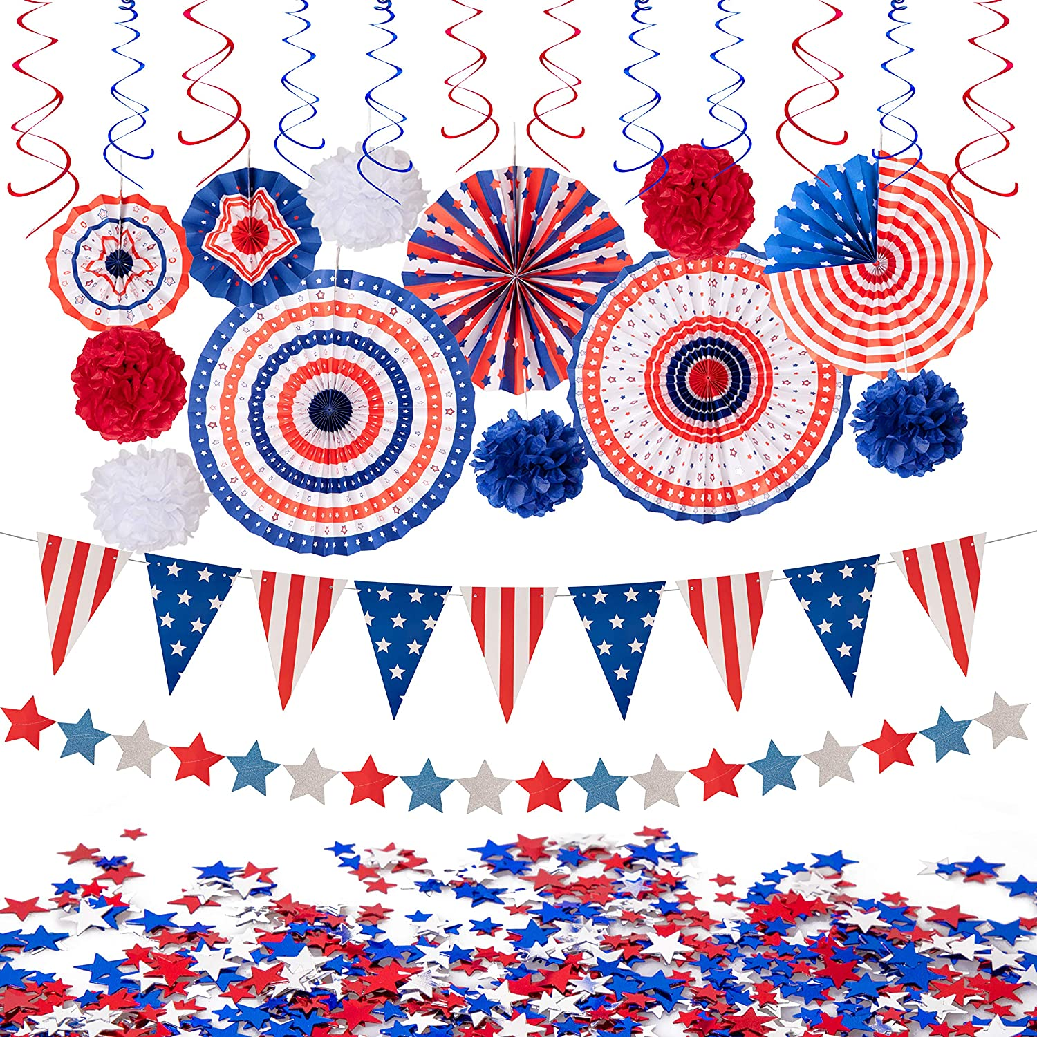 Amazon Com 29pcs 4th Fourth Of July Patriotic Decorations Set Red White Blue Paper Fans Usa Flag Pennant Star Streamer Pom Poms Hanging Swirls Party Decor Supplies Home Kitchen