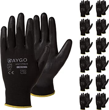 12 Pair Extra Heavy Knit Black w// Blue Grip Double Sided Dot Grip Work Gloves