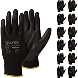 Safety Work Gloves PU Coated-12 Pairs,KAYGO KG11PB, Seamless Knit Glove with Polyurethane Coated Smooth Grip on Palm & Finger