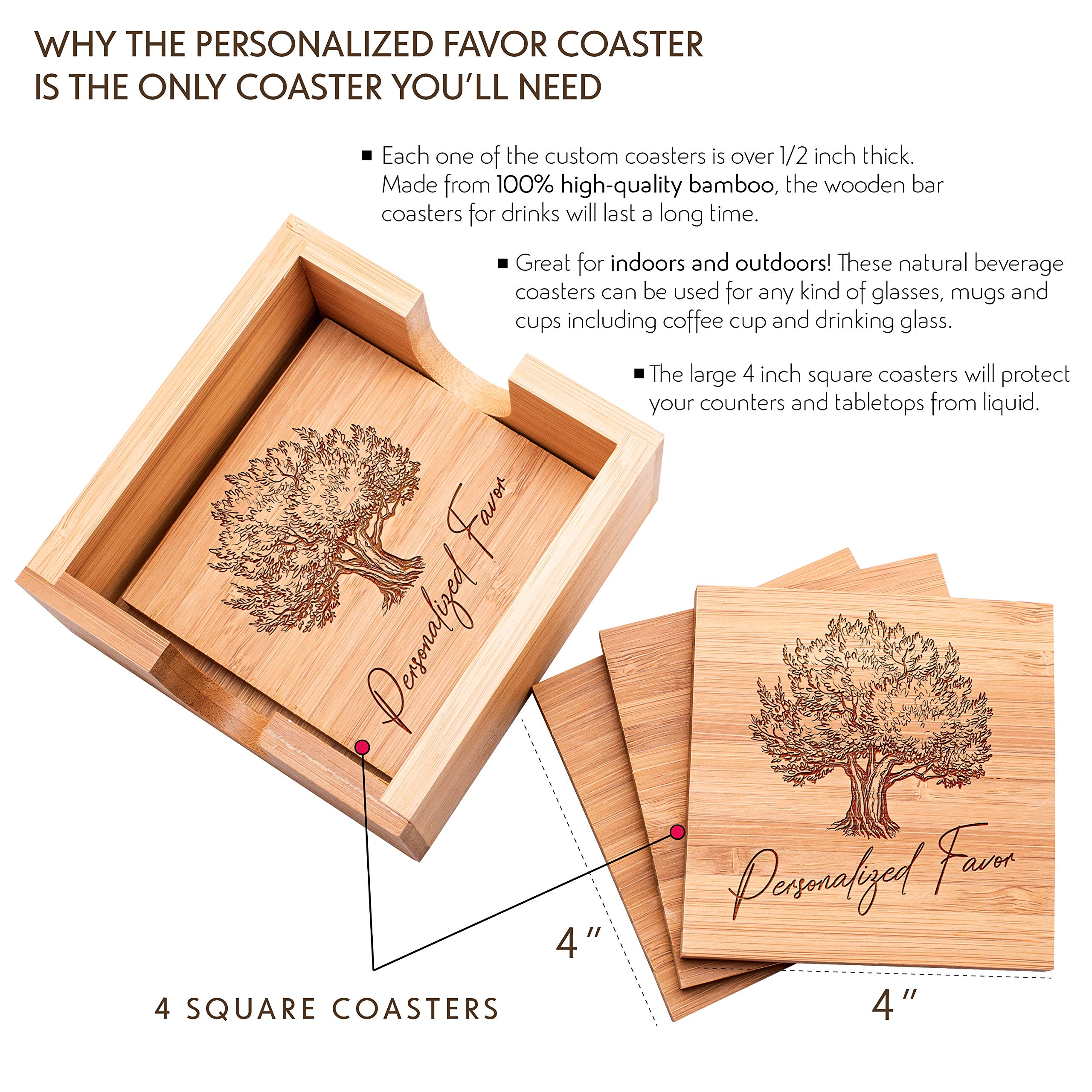 Personalized 4 Coasters Set with Holder Drink Coaster for Beer Cocktail Coffee Tea 4x4 Bamboo Wood Monogram Coaster Kit Customizable with Name Date Personalized Gifts Women Men Wedding Favors #5 by Personalized Favors (Image #2)