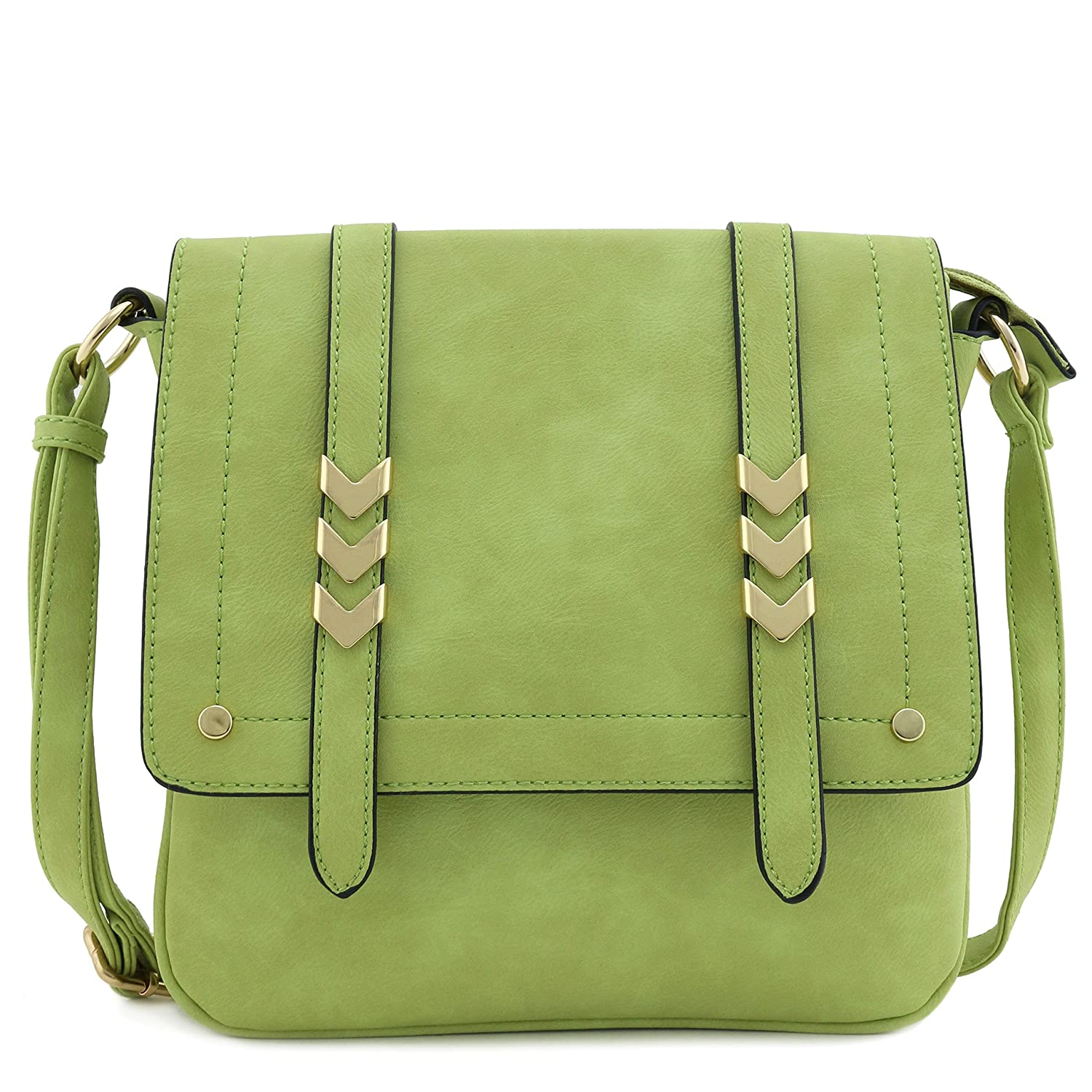 c6dc61b4648b Double Compartment Large Flap Over Crossbody Bag Apple Green  Handbags   Amazon.com