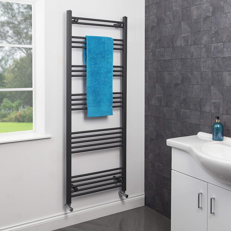 DuraTherm Modern Bathroom 1600 x 600mm Heated Towel Rail Radiator Straight Anthracite Flat