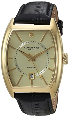 40ecfcf3d84 Image Unavailable. Image not available for. Color  Kenneth Cole New York  Men s Diamond Stainless Steel Japanese-Quartz Watch with Leather Calfskin  Strap