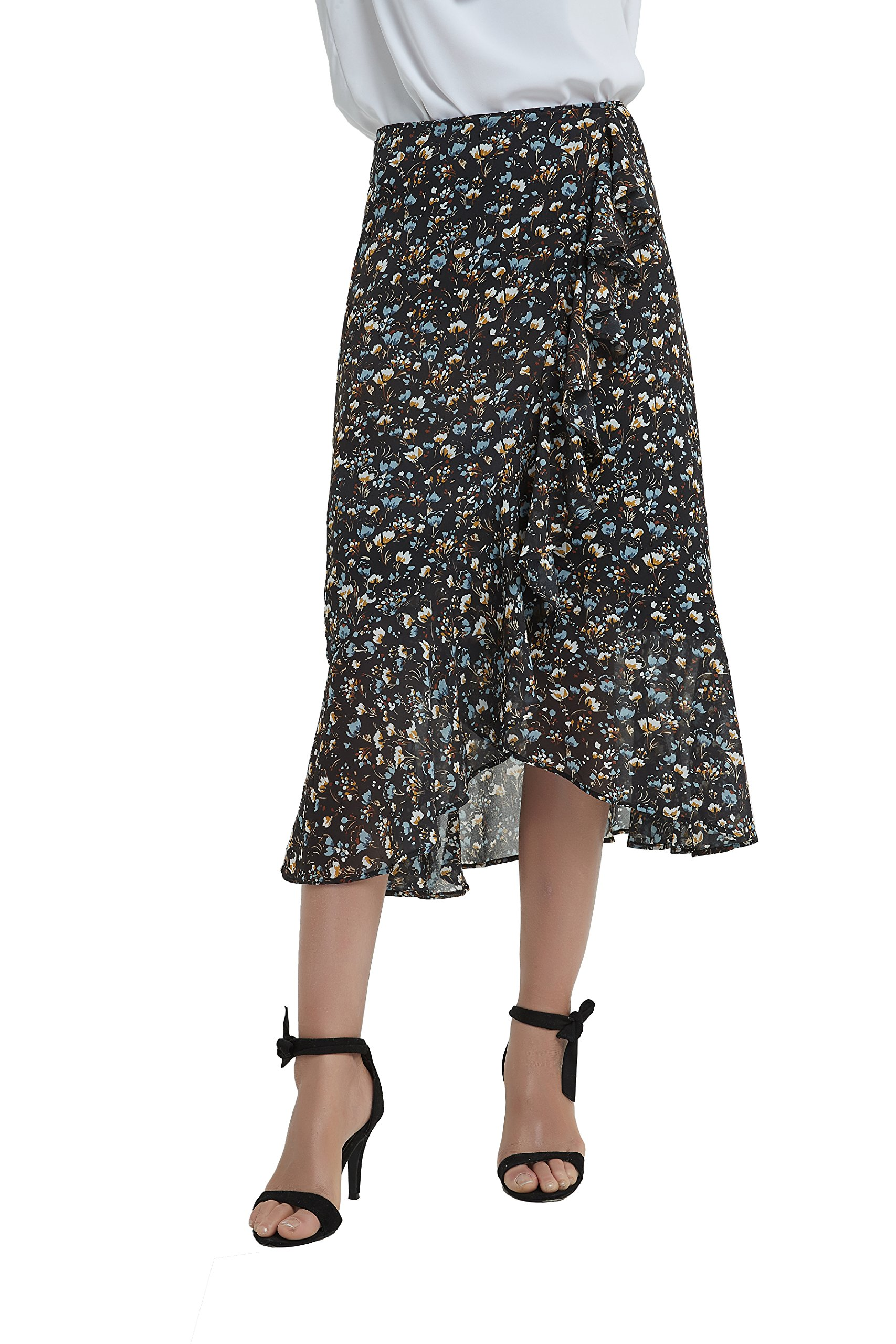 Tronjori Womens A Line Floral Print Midi Skirt with Ruffle on The Front (M, Black sml Flower)
