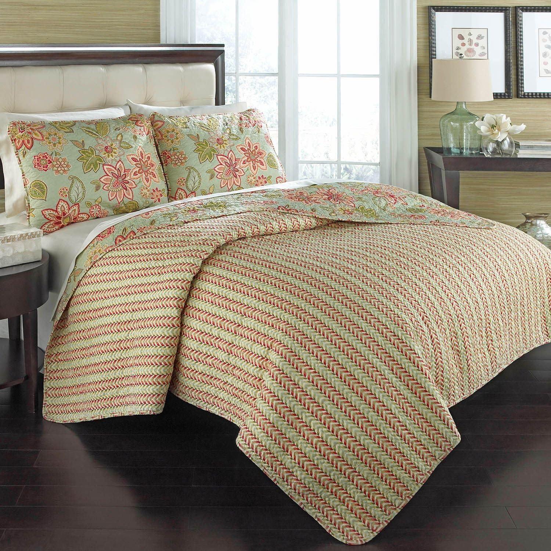 Waverly 100 Cotton 3 Piece Reversible Quilt Set 1 Quilt 2 Shams Full Queen Charismatic Honeysuckle Kitchen Dining