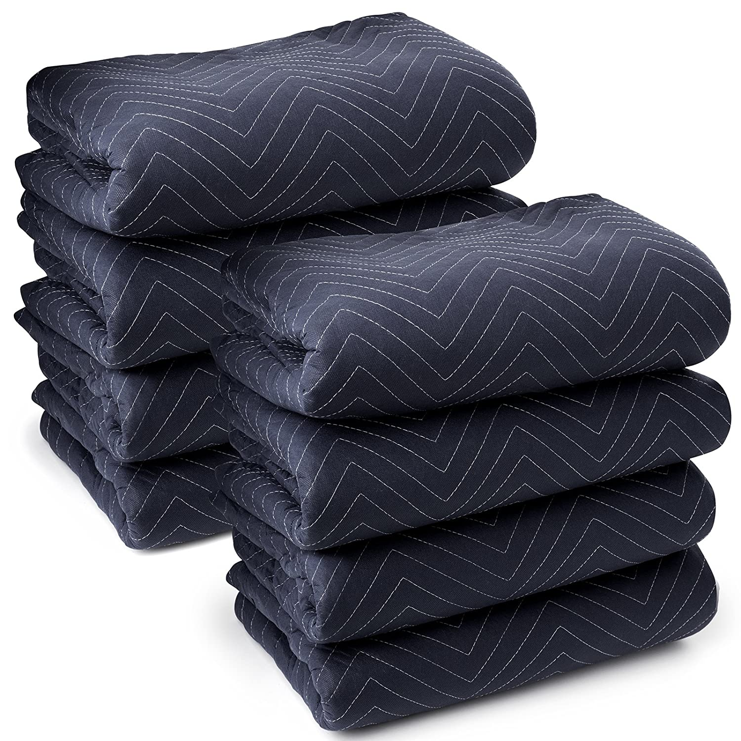 "Sure-Max 8 Moving & Packing Blankets - Pro Economy - 80"" x 72"" (35 lb/dz weight) - Professional Quilted Shipping Furniture Pads Navy Blue and Black"