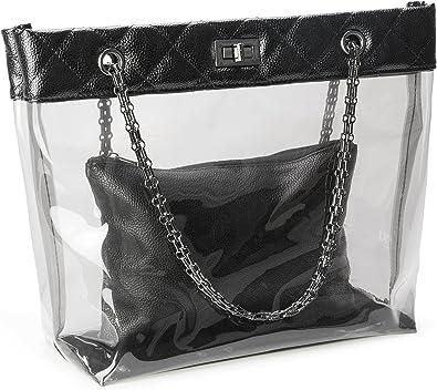 New Womens 2 in 1 Transparent Shoulder Handbag And Small Snake Print Clutch Bag