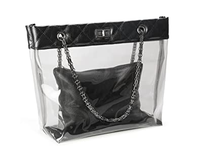 c3f1435b7 Amazon.com: Candy Color Quilted Chain Strap Clear Handbags Transparent Tote  Purses for Women: Clothing