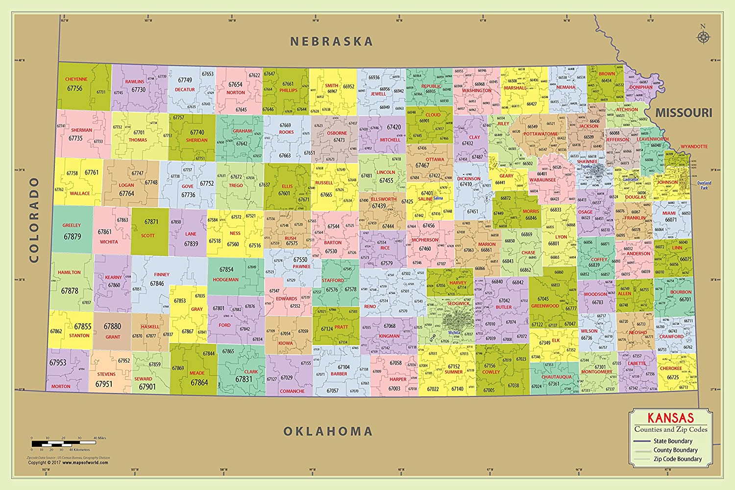 Amazon Com Kansas County With Zip Code Map 36 W X 24 H