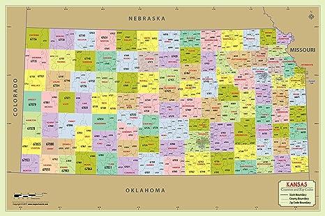 Amazon.com : Kansas County with Zip Code Map (36\