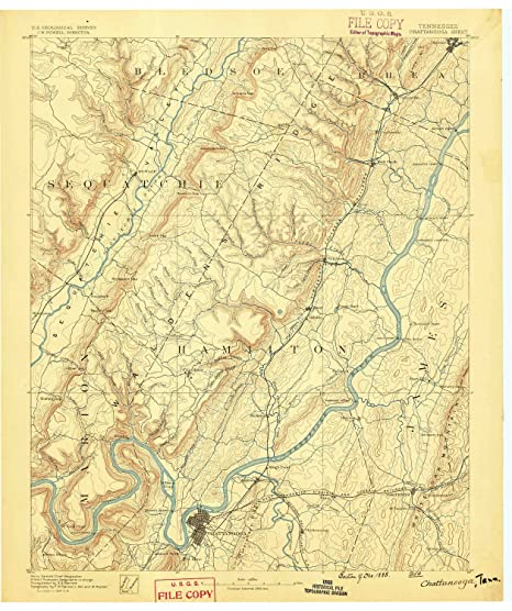 Amazon.com : YellowMaps Chattanooga TN topo map, 1:125000 Scale, 30 on