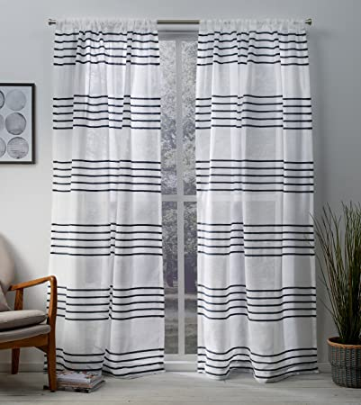 Exclusive Home Curtains Monet Pleated Sheer Linen Cabana Stripe Window Curtain Panel Pair with Rod Pocket, 54×108, Indigo, 2 Piece