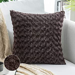 MIULEE Decorative Throw Pillow Covers Luxury Faux Fuzzy Fur Super Soft Cushion Pillow Case Decor Chocolate Cases for Couch Sofa Bedroom Car 20 x 20 Inch 50 x 50 cm