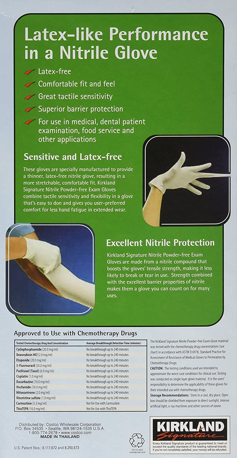 Kirkland Signature Nitrile Exam Gloves, Size Med  200-Count (2-Pack)