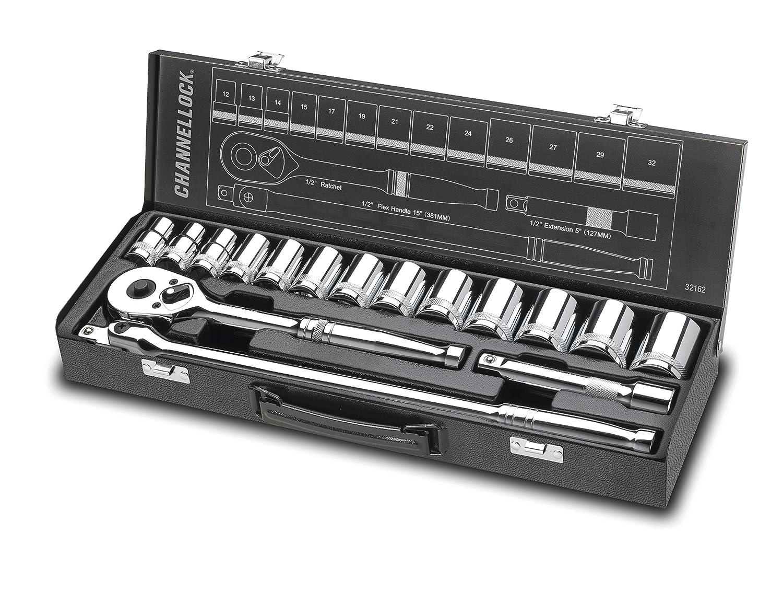 Channellock 32162 1/2' Drive Metric Socket Set, 16 Piece Inc.