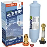 Firebelly Outfitters RV/Marine Inline Carbon Water Filter - Starter Kit w/Flexible Hose Protector, RV Water Pressure…