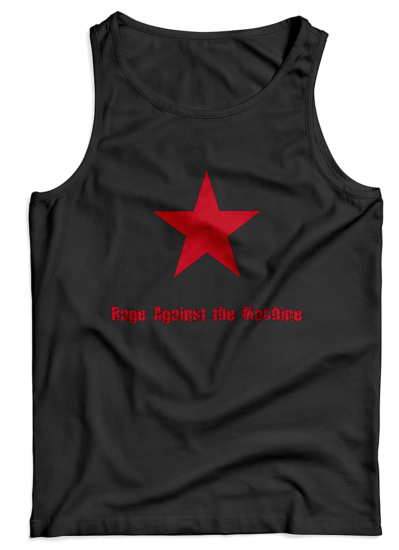 LaMAGLIERIA Canotta Uomo Rage Against The Machine Star Logo - Maglietta Smanicata 100% Cotone TKTM10738