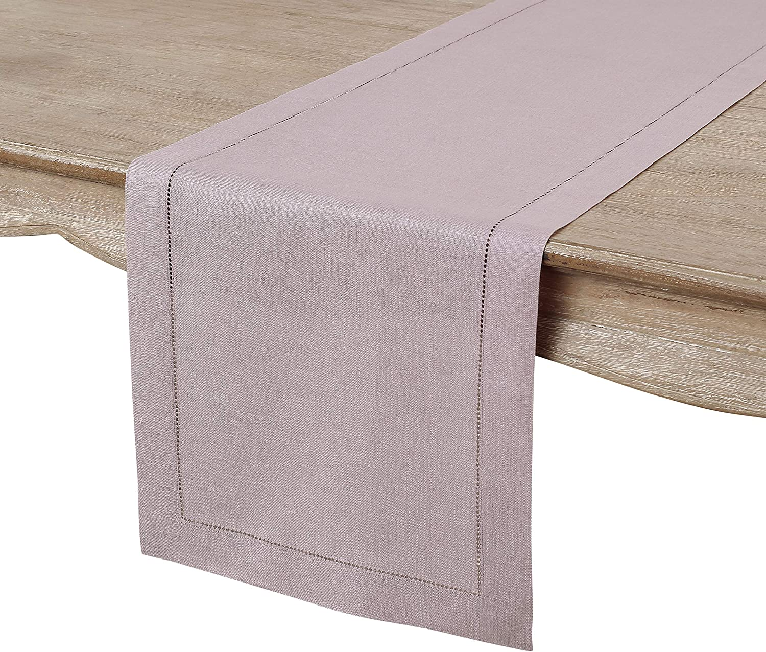 Solino Home 100% Pure Linen Hemstitch Table Runner - 14 x 108 Inch, Handcrafted from European Flax, Machine Washable Classic Hemstitch - Lilac