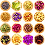 16 Bolsas de Flores y Hierbas Secas Múltiples Naturales Aromas de Capullos de Rosa Lavanda Jazmín Crisantemos para DIY…