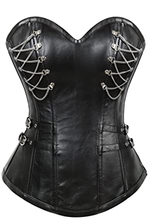 c80b34ce2d Lttcbro Women s Steampunk Rock Steel Boned Faux Leather Corset with Chains Black  Small