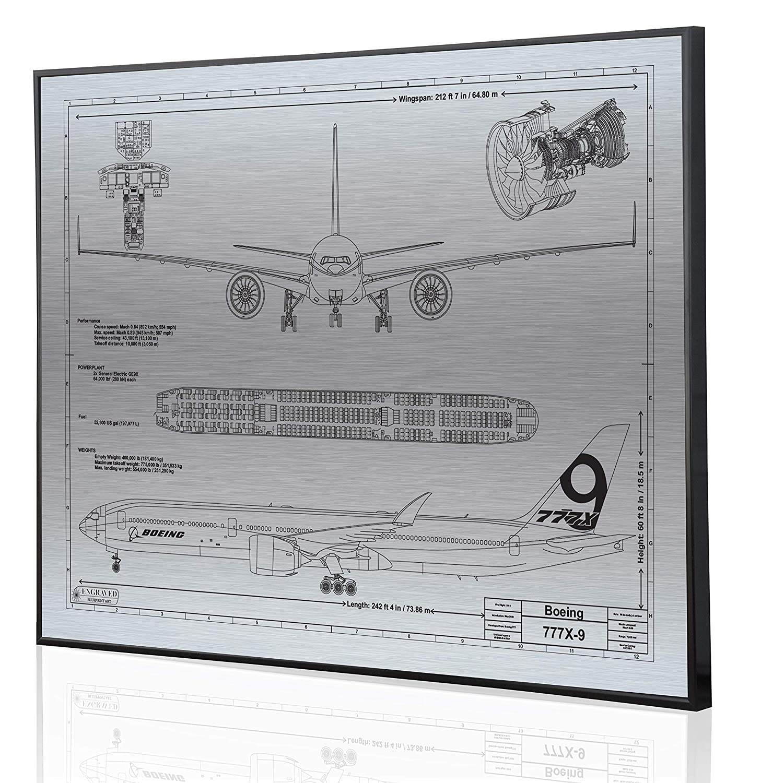 Boeing B777-9X Poster Aircraft Design Blueprint Wall Art Print