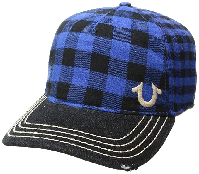 True Religion Mens Buffalo Check Cap Royal One Size Amazon