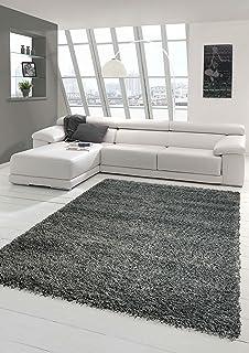 Shaggy Teppich Hochflor Langflor Teppich Wohnzimmer Teppich Gemustert In  Uni Design Grau Größe 80x150 Cm