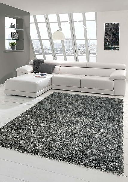 Shaggy Teppich Hochflor Langflor Teppich Wohnzimmer Teppich Gemustert in  Uni Design Grau Größe 160x230 cm