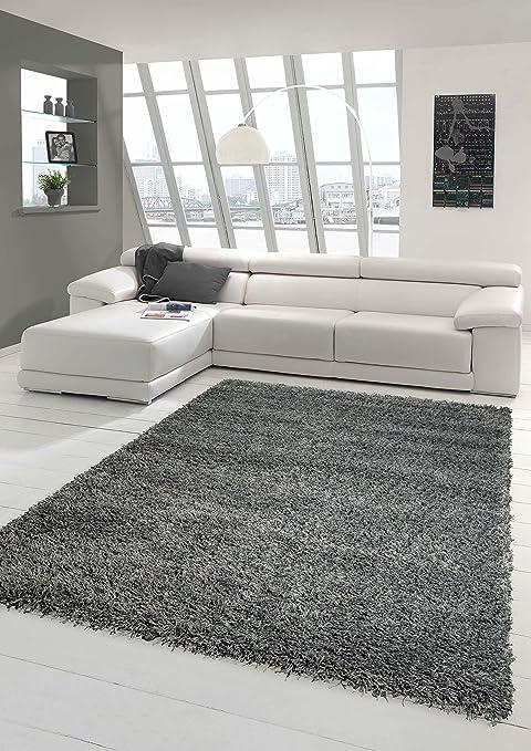 Shaggy Teppich Hochflor Langflor Teppich Wohnzimmer Teppich Gemustert in  Uni Design Grau Größe 120x170 cm