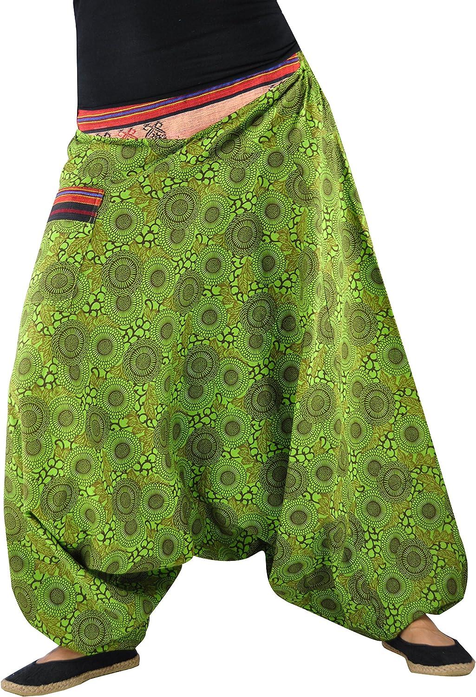 virblatt Haremshosen Damen und Herren mit handgewebtem Muster Hippie Kleidung