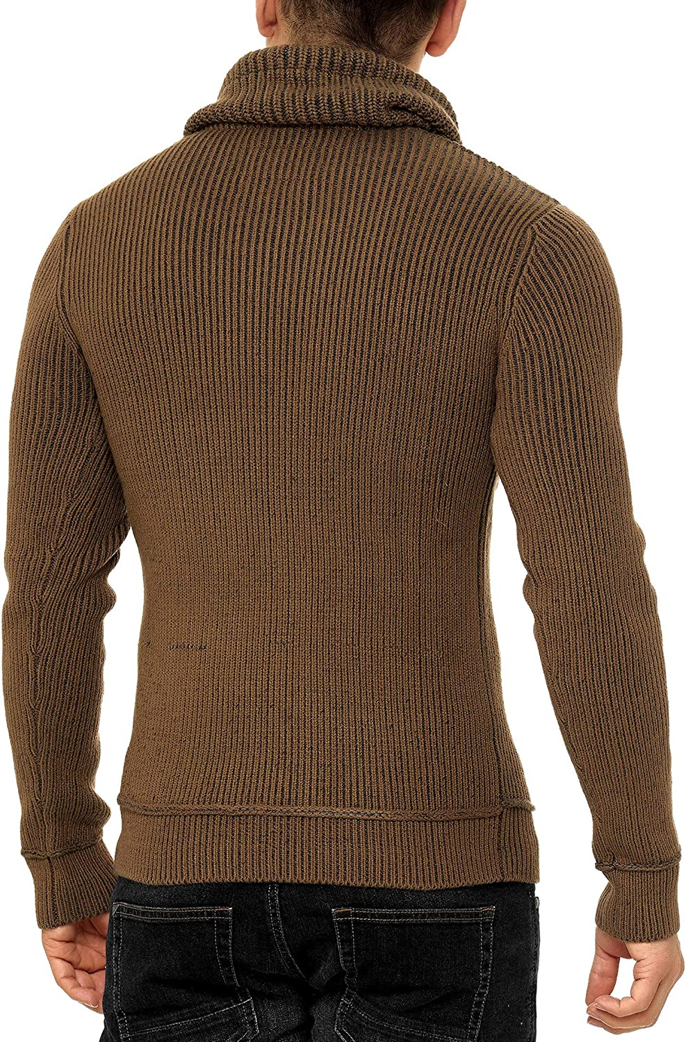 Indicode Homme Keshawn Pull D/'Hiver /À Grosse Maille avec Col Montant Chaud Pull pour Homme Moderne Pull /À Message Hoddie Pull Confortable Pull en Maille Pull en Maille pour Homme