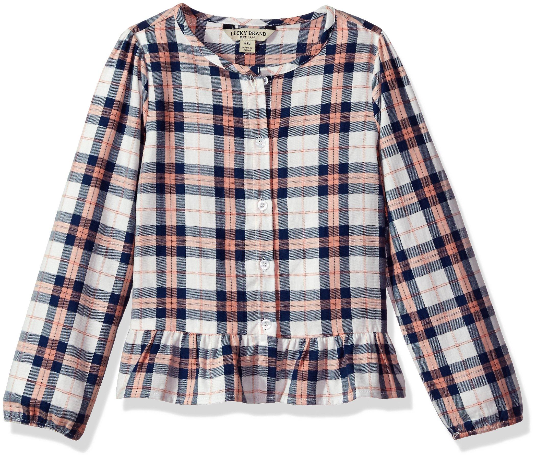 Lucky Brand Big Girls' Long Sleeve Fashion Top, Parker Whisper White, Medium (8/10)