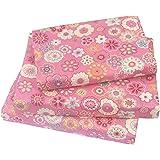 J-pinno Cute Flower Twin Sheet Set for Kids Girl Children,100% Cotton, Flat Sheet + Fitted Sheet + Pillowcase Bedding Set