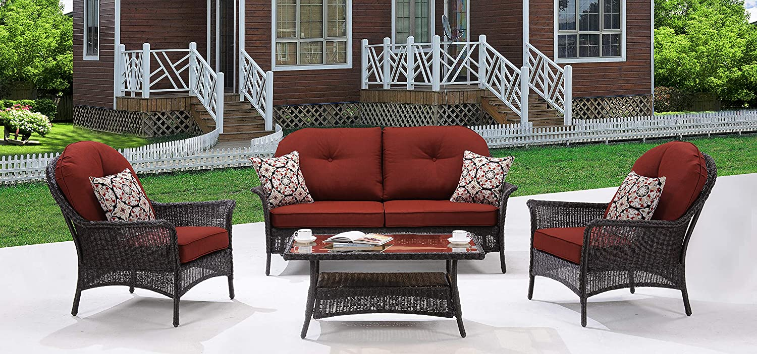 Hanover SMAR-4PC-RED San Marino 4 Piece Patio Set, Crimson Red Outdoor Furniture