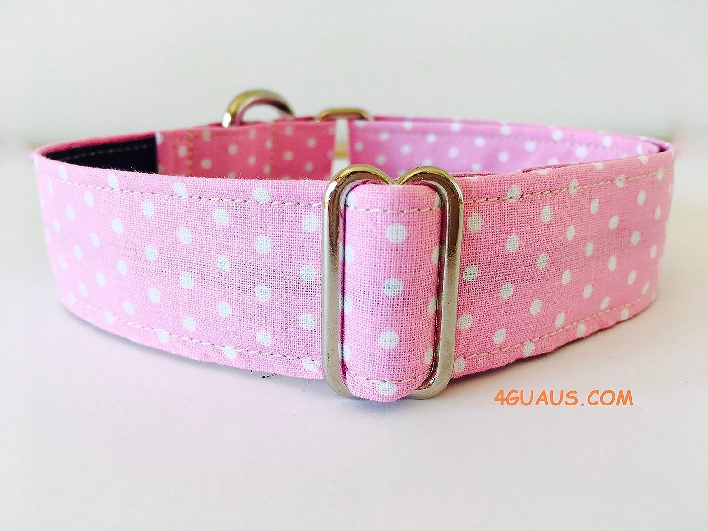 Collar Perro Martingale Modelo Lunares Rosa Pequeños