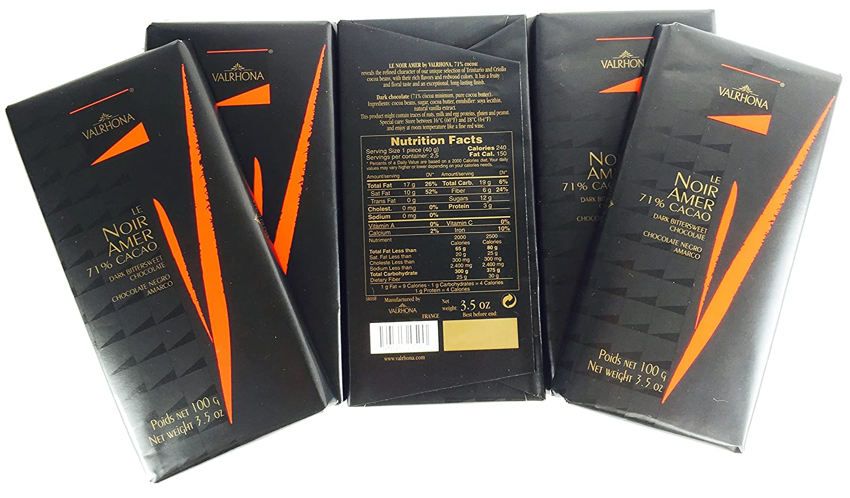 Amazon.com : Valrhona Le Noir Amer 71% Cacao Dark Bittersweet ...