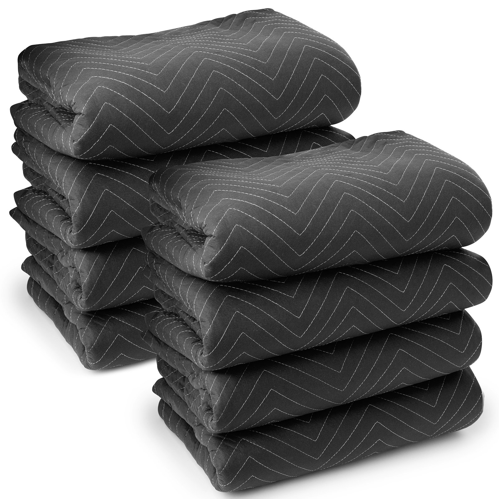 Sure-Max 8 Moving & Packing Blankets - Ultra Thick Pro - 80'' x 72'' (65 lb/dz weight) - Professional Quilted Shipping Furniture Pads Black
