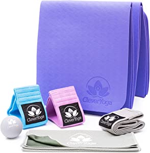 Workout Equipment for Home Workouts - 3 Non-Slip Fabric Resistance Booty Bands with Latex Grip, Folding Yoga Mat, Massage Ball, Cooling Towel, and Bag - Women at Home Gym Leg Butt Thigh Exercise Kit