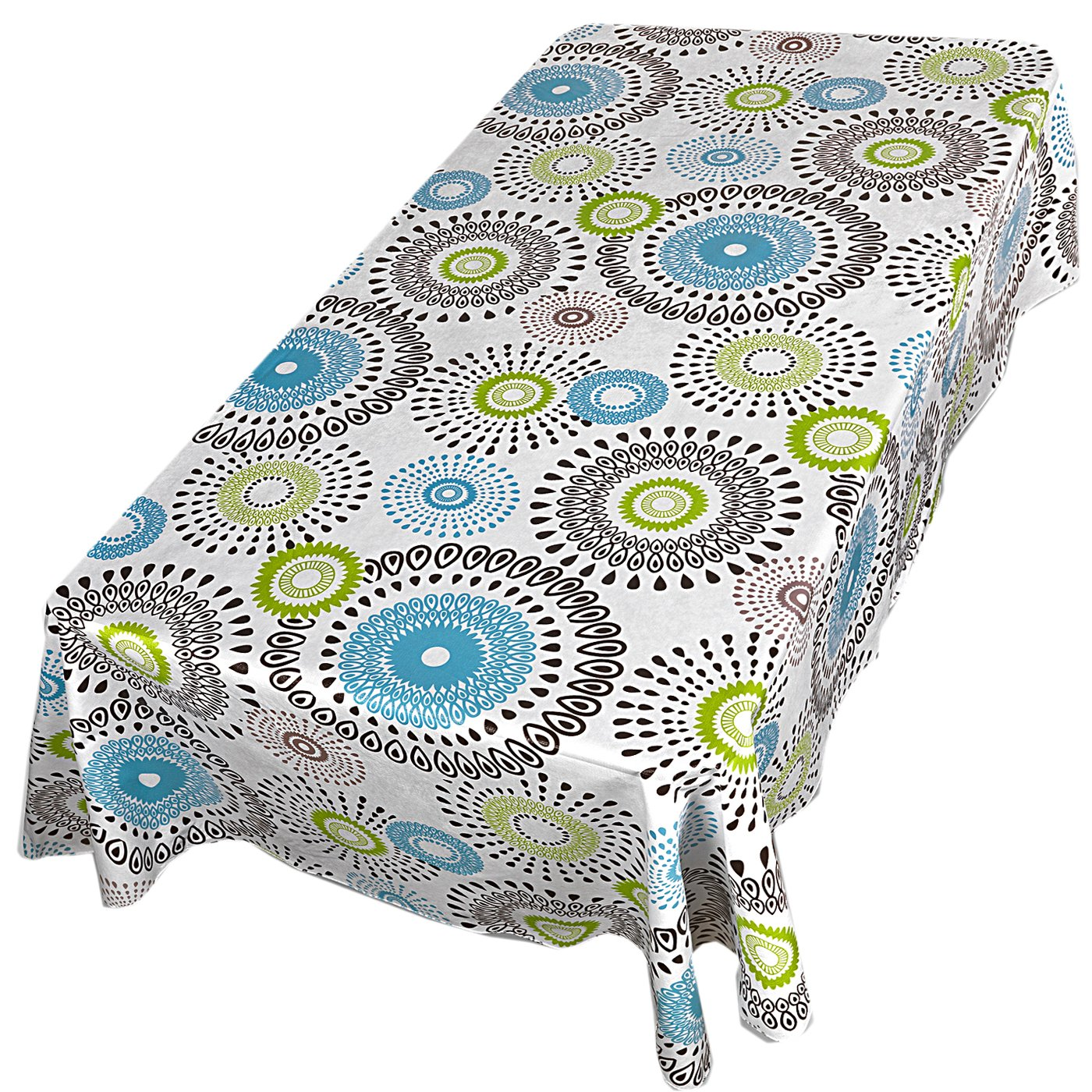 Whimsy Circle Contemporary Print Indoor/Outdoor Vinyl Flannel Backed Tablecloth - 70 Round by Home Bargains Plus (Image #3)