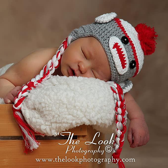 8ea5e5b963a Amazon.com  Melondipity Sweet Sock Monkey with Braids Baby Hat Grey and Red  6-12 Months  Infant And Toddler Hats  Clothing