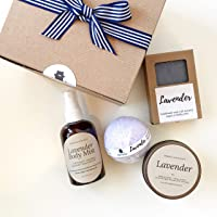 Lavender Spa Birthday Gift Box Set for Her with Bath Bomb Soap Body Mist and Candle