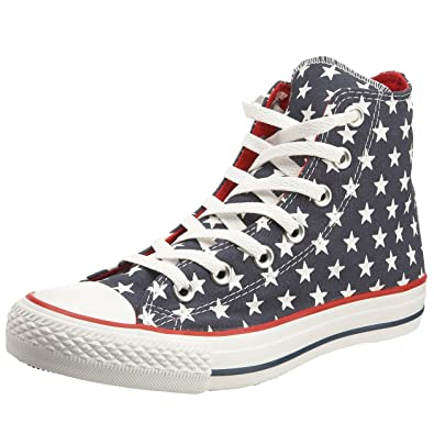 Converse Unisex Chuck Taylor AS Repeat Star Print HI Lace-Up Dark  Denim White 9589b4cefe