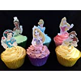 12 Stand Up Premium Edible Wafer Paper Disney Princess Top Half Cake Toppers Decorations - 6 Different Princesses