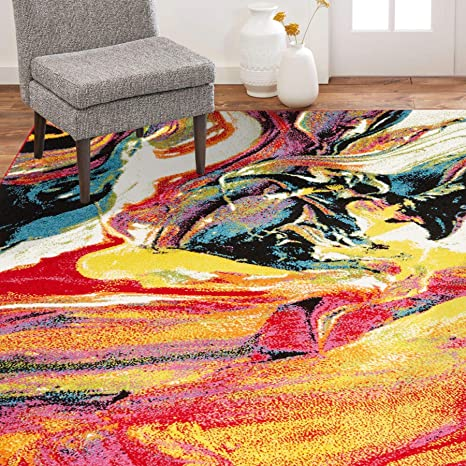 Amazon Com Home Dynamix Splash Avant Area Rug 7 10 X10 2 Abstract White Pink Yellow Blue Furniture Decor