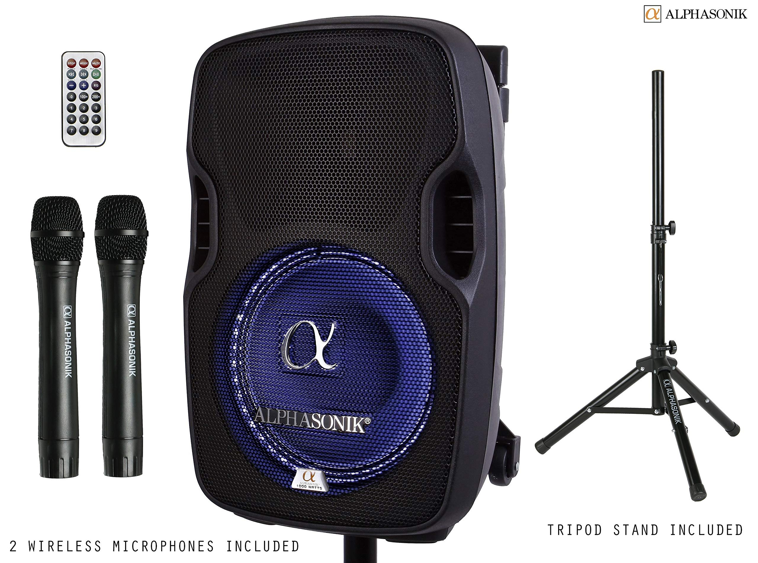 Alphasonik 8'' Portable Rechargeable Battery Powered 800W PRO DJ Amplified Loud Speaker with 2 Wireless Microphones Echo Bluetooth USB SD Card AUX MP3 FM Radio PA System LED Ring Karaoke Tripod Stand