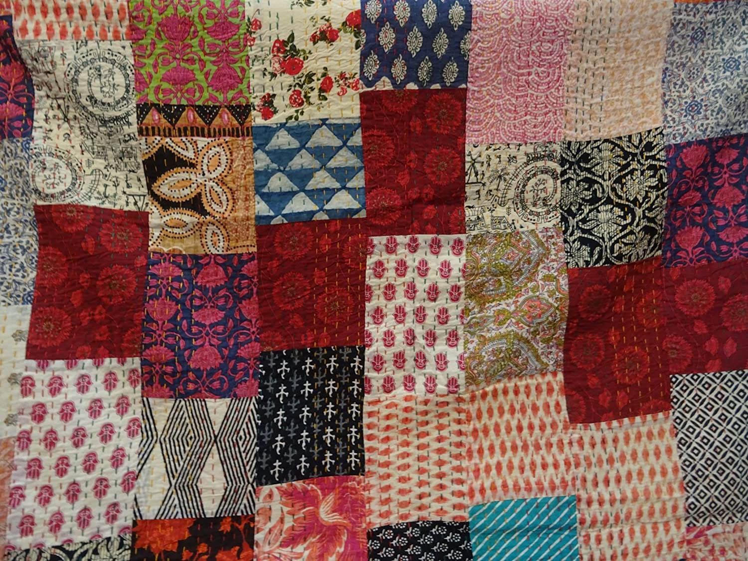Tribal Asian Textiles Multi color Block Print Patchwork Queen Size Kantha Quilt King Kantha bedspread Bed Cover Bohemian Bedding Kantha Size 90 Inch x 108 Inch 1111 by Tribal Asian Textiles Kantha Blanket