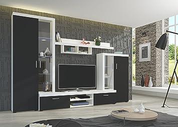Wohnwand NINA Anbauwand Schrank Möbel Wohnzimmer Modernes Design Matt Weiß  Schwarz (Korpus: Weiß /