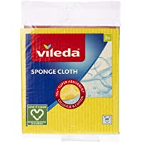 Vileda Sponge Cloth Cleaning Cloth, 3 Pieces, Yellow/Blue/Red